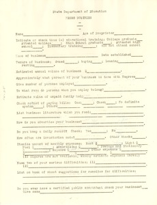 Thumbnail of Questionnaire on Negro business