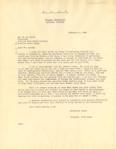 Thumbnail of Letter from Atlanta University to Prairie View State Normal and Industrial College