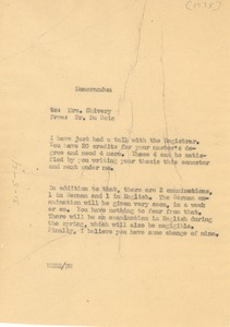 Thumbnail of Memorandum from W. E. B. Du Bois to Louie D. Shivery