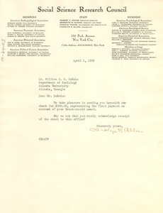 Thumbnail of Letter from Social Science Research Council to W. E. B. Du Bois