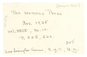 Thumbnail of Note on the Woman's Press