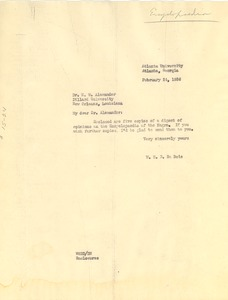 Thumbnail of Letter from W. E. B. Du Bois to W. W. Alexander