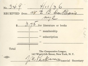 Thumbnail of Receipt from the Cooperative League