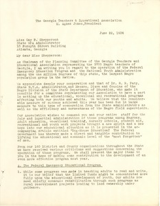 Thumbnail of Letter from Georgia Teachers and Education             Association to Works Progress Administration of Georgia