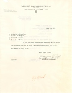 Thumbnail of Letter from Harcourt Brace & Company to W. E. B. Du Bois