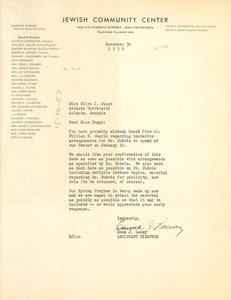 Thumbnail of Letter from Jewish Community Center to Ellen Irene Diggs