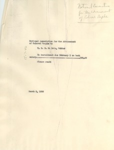 Thumbnail of Memorandum from NAACP to W. E. B. Du Bois