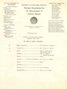 Thumbnail of Lincoln Congregational Temple program for February 9, 1936