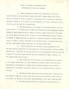 Thumbnail of Report of progress in connection with 'Encyclopedia of the Negro' project