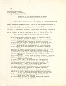 Thumbnail of Memorandum on the 'Encyclopedia of the Negro'
