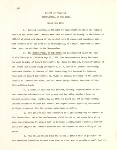 Thumbnail of Report of Progress on the 'Encyclopedia of the Negro'