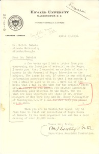 Thumbnail of Letter from Dorothy Porter to W. E. B. Du Bois
