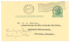 Thumbnail of Postcard from J. E. Spingarn to W. A. Shields