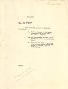 Thumbnail of Memorandum from W. E. B. Du Bois to United States Federal Emergency Relief             Administration