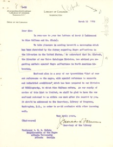 Thumbnail of Letter from Library of Congress to W. E. B. Du Bois