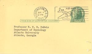 Thumbnail of Form letter from American Association of University Professors to W. E. B. Du             Bois
