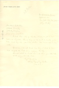 Thumbnail of Letter from Glovina Virginia Perry Banks to W. E. B. Du Bois