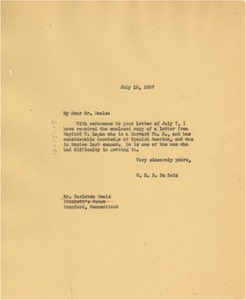 Thumbnail of Letter from W. E. B. Du Bois to Carleton Beals