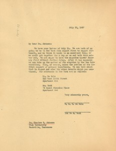 Thumbnail of Letter from W. E. B. Du Bois and Ira de Augustine Reid to Fisk University
