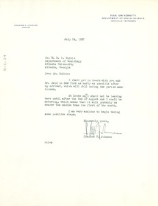 Thumbnail of Letter from Fisk University to W. E. B. Du Bois