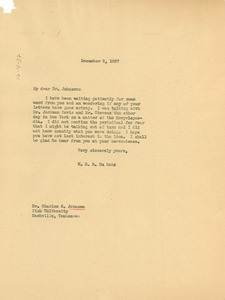 Thumbnail of Letter from W. E. B. Du Bois to Fisk University