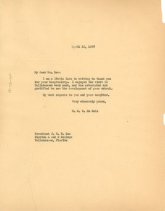 Thumbnail of Letter from W. E. B. Du Bois to Florida Agricultural and Mechanical College