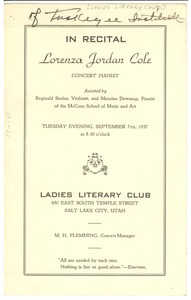 Thumbnail of Lorenza Jordan Cole recital program