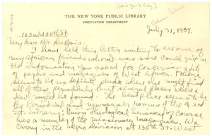 Thumbnail of Letter from New York Public Library to W. E. B. Du Bois