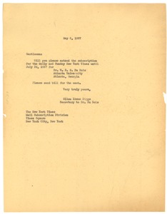 Thumbnail of Letter from Ellen Irene Diggs to New York Times