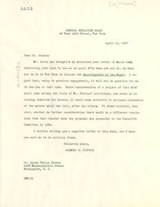 Thumbnail of Letter from General Education Board of New York to Anson Phelps Stokes