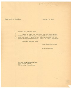 Thumbnail of Letter from W. E. B. Du Bois to Pittsburgh Courier