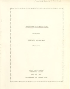 Thumbnail of Southern sociological society membership list for 1937