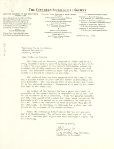 Thumbnail of Letter from Southern Sociological Society to W. E. B. Du Bois