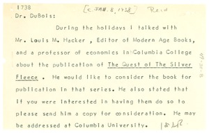 Thumbnail of Letter from Ira De A. Reid to W. E. B. Du Bois