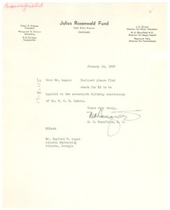Thumbnail of Letter from M. O. Bousfield to Rayford W. Logan