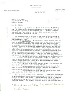 Thumbnail of Letter from C. T. Loram  to W. E. B. Du Bois