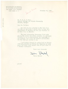 Thumbnail of Letter from Gunnar Myrdal to W. E. B. Du Bois