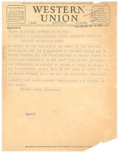 Thumbnail of Telegram from the National Association for the Advancement of Colored People to             Rayford W. Logan