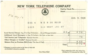 Thumbnail of Invoice from New York Telephone Company