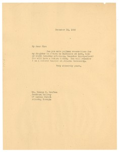 Thumbnail of Letter from W. E. B. Du Bois to Southern Railway System