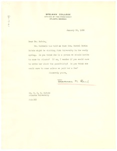 Thumbnail of Letter from Florence M. Read to W. E. B. Du Bois