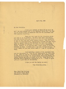 Thumbnail of Letter from W. E. B. Du Bois to Ethel Ray Williams