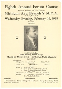 Thumbnail of Advertisement for lecture given to Young Men's Christian Association