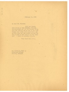 Thumbnail of Memorandum from W. E. B. Du Bois to Atlanta University