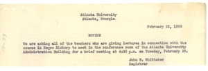 Thumbnail of Note from Atlanta University to unidentified correspondent
