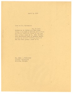 Thumbnail of Memorandum from unidentified correspondent to Atlanta University
