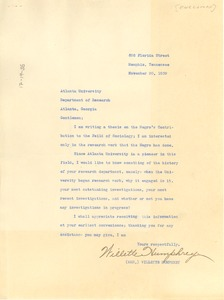 Thumbnail of Letter from Willette Humphrey to Atlanta University