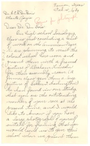 Thumbnail of Letter from La Treece Bell to W. E. B. Du Bois