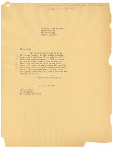 Thumbnail of Letter from W. E. B. Du Bois to the Credit Union of Baltimore