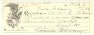 Thumbnail of Receipt from Fisk University Alumni Association to W. E. B. Du Bois